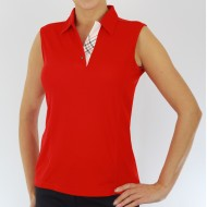Sleeveless Contrast Placket Shirt